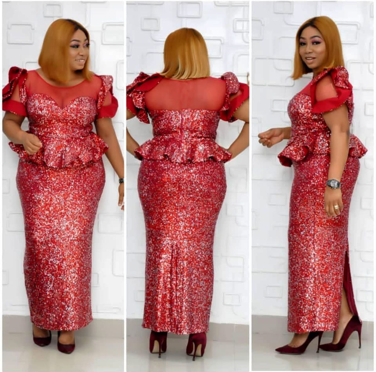 2020 New Arrival Spring And Summer African Women O-neck Sequined Plus Size Long Dress
