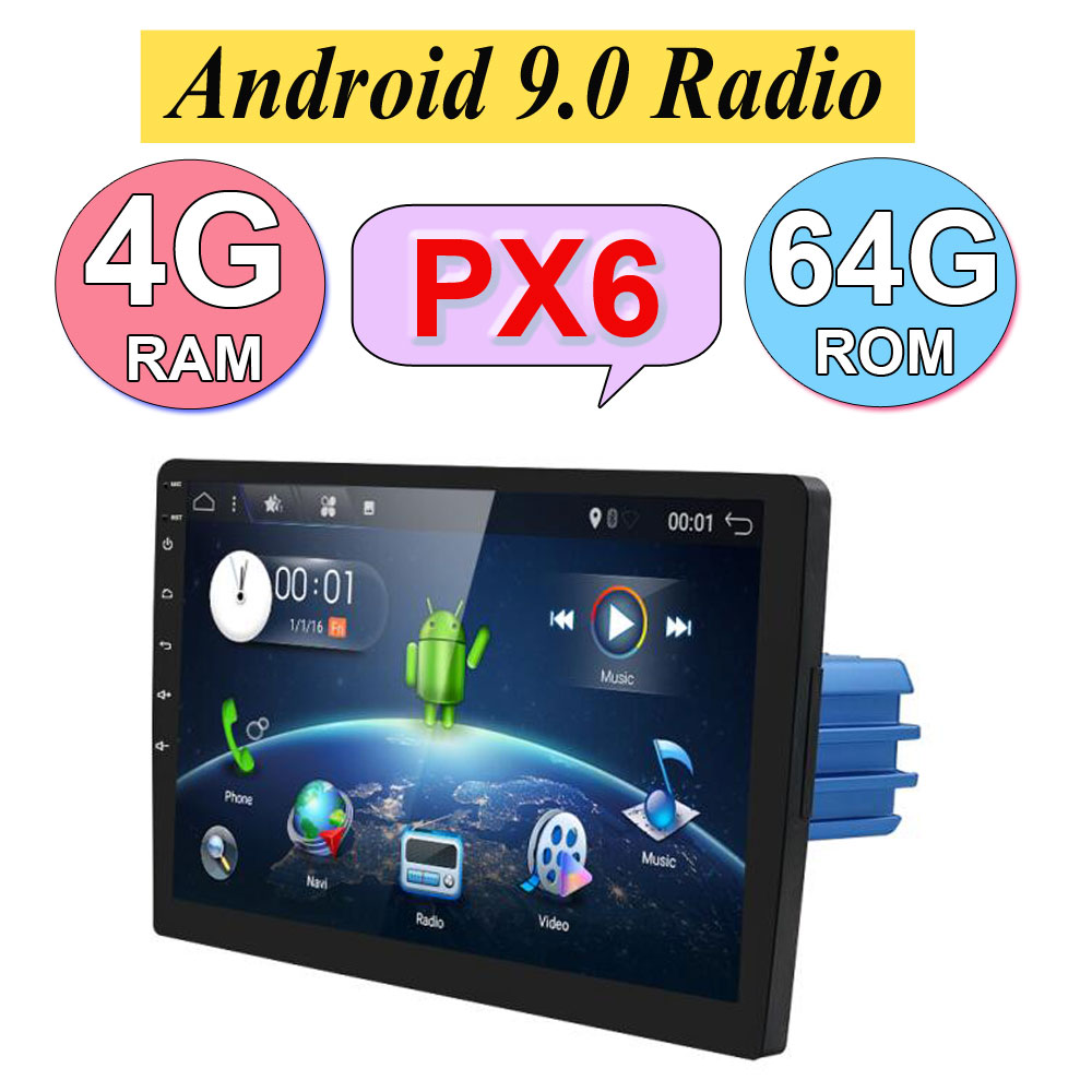Car Family Android 9.0 4G+64G 1 Din For Univesal Stereo Auto Radio With Wifi BT Camera Cassette Player Cassette Tape Recorder image