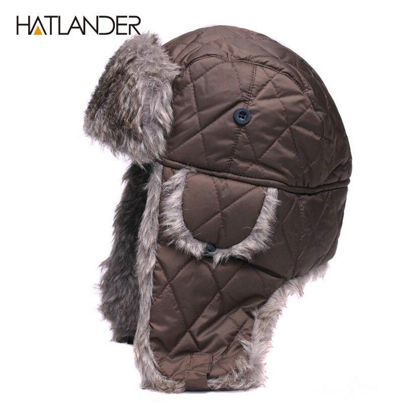 HATLANDER Earflap Winter Hats Caps Men Women Outdoor Warm Thick Bomber Earcuff Hat Russian Ushanka Aviator Snow Ski Trapper Cap