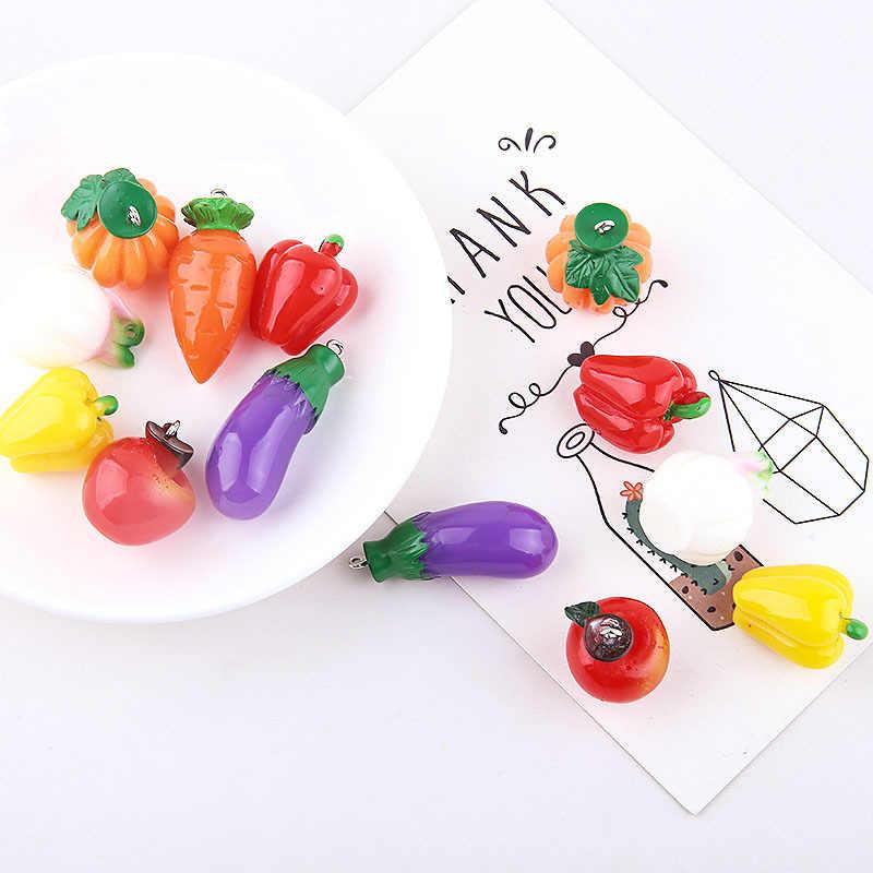 10 teile/paket Kürbis Aubergine Rettich Nette Grün Gesundheit Gemüse Harz Charms Anhänger Ohrring DIY Mode Schmuck Zubehör