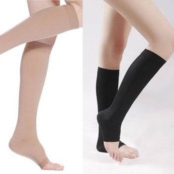 Open Toe Knee-High Medical Compression Stockings Varicose Veins Stocking Compression Brace Wrap Shaping for Women Men 18-21mm
