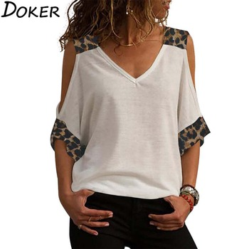 Vintage T Shirt Women 2020 Summer Leopard Print V-neck 3/4 Sleeve Plus Size T-shirt Off Shoulder Tops Casual Tee Shirt Femme women s t shirt summer plus size tee basic t shirt women solid v neck short sleeve long casual women tops loose tee shirt femme