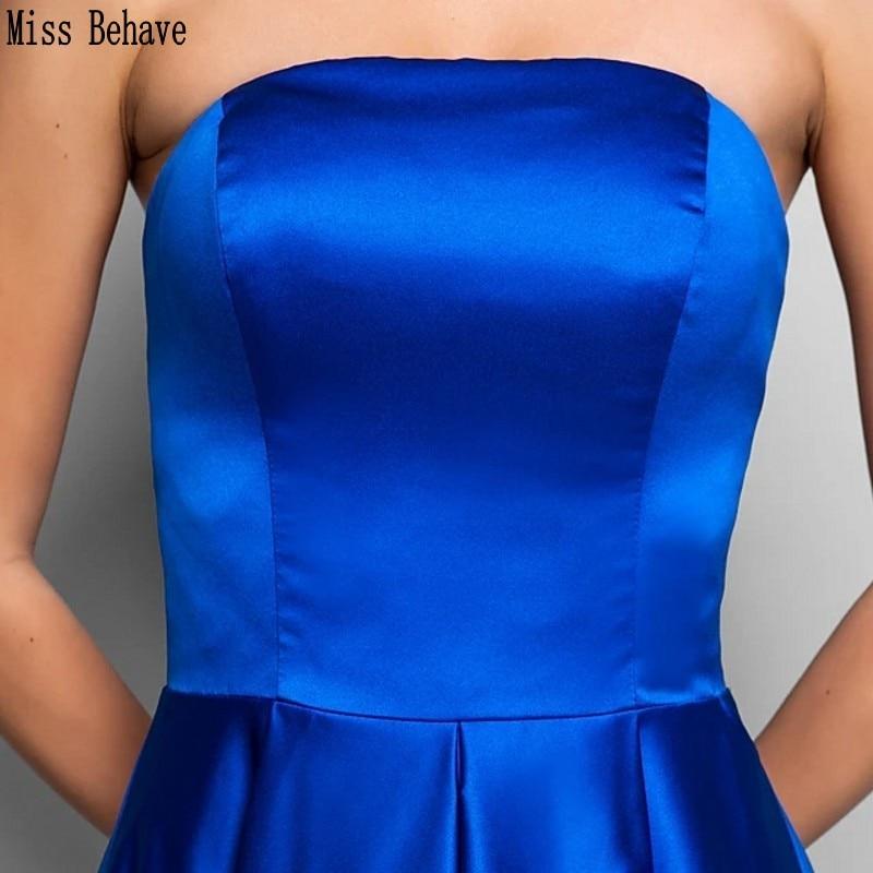 DD JYOY Royal Blue Satin Prom Dress Long Elegant Strapless Simple Style Zipper Back Long Formal Dress Evening Gown Sleeveless