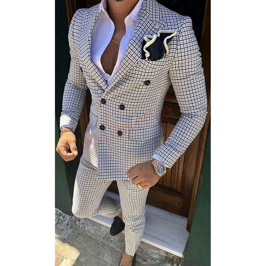 2020 Designers Fashion Men Suit Slim Fit Prom Wedding Suits for Men Groom Tuxedo Jacket Pants Set White Gray Casual Man Blazer 3