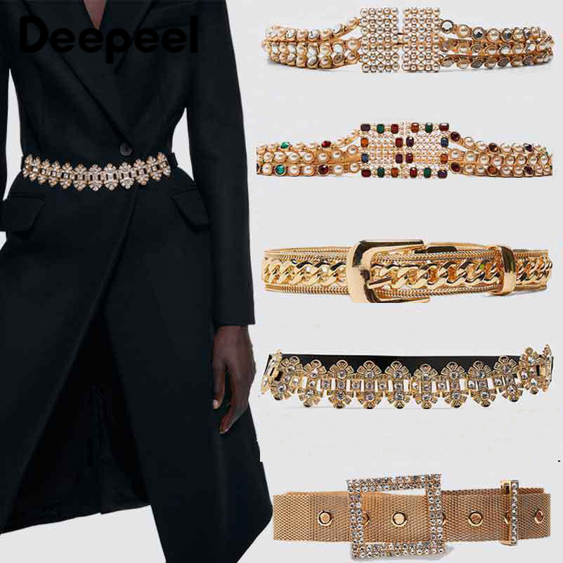 Deepeel 1pc 4-15cm*90-130cm Women Crystal Diamond Alloy Cummerbund Sumptuous Elegant High Quality Wide Belt Gift For LadiesCB606