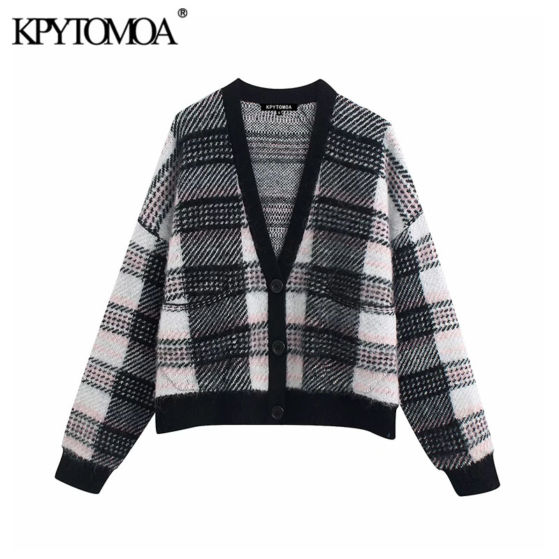 Vintage Stylish Pockets Plaid Knitted Cardigan Sweater Women 2020 Fashion V Neck Long Sleeve Female Pullovers Chic Tops