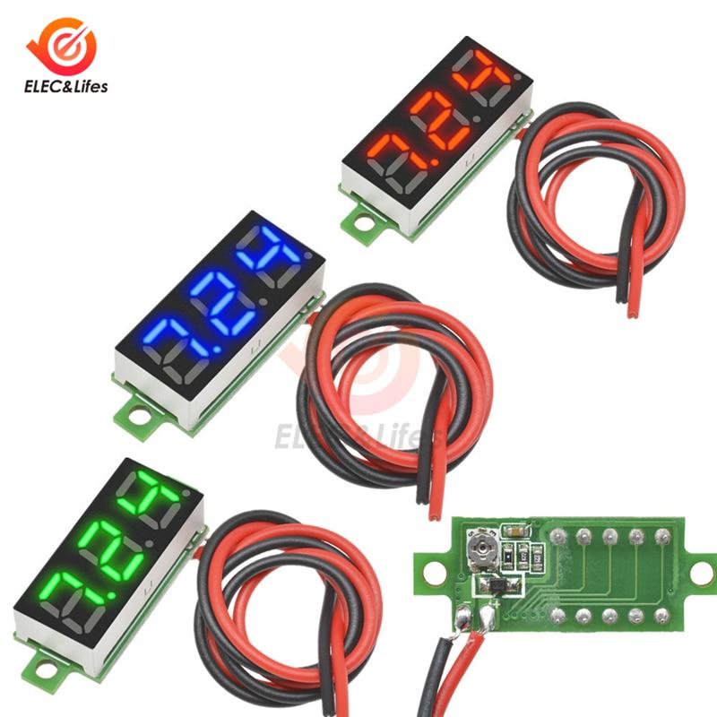 DC 3.5-30V 2 Wire 0.28 Inch Mini Digital Voltage Meter Detector Gauge 0.28'' LED Voltmeter Panel Volt Monitor Tester For Car