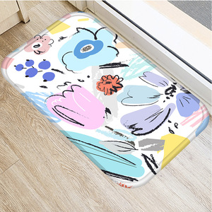 Image 4 - Color Oil Painting Flower Non slip Bedroom Decorative Carpet Kitchen Floor Living Room Floor Mat Bathroom Non slip Mat 40x60cm .