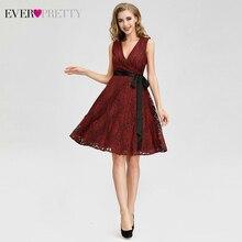 Сексуальные красные коктейльные платья Ever Pretty A-Line с v-образным вырезом без рукавов бант пояса выше колена Кружева короткое платье для вечеринок Vestidos De Coctel