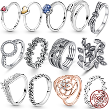 2021 New Hot Sale 100% 925 Sterling Silver Rings Wholesale Popular Flower Lucky Rings For Women Jewelry Making Dorpshipping