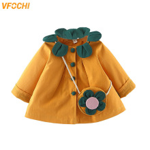 VFOCHI New Baby Girl Jacket Spring Windbreaker Color Yellow Pink Children Clothing Autumn Girls Outerwear Trench