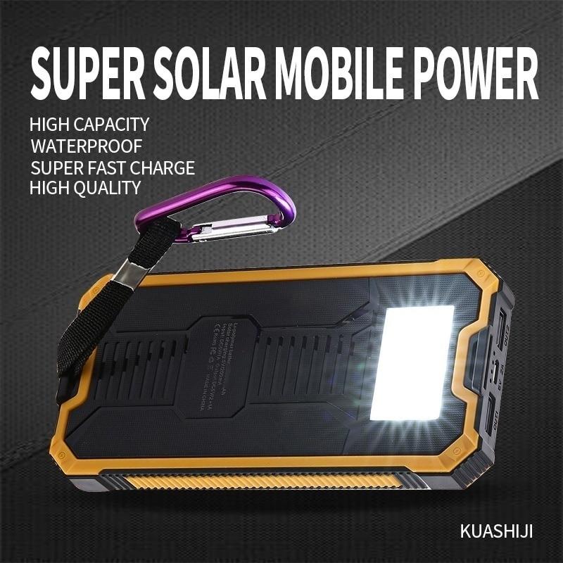 Солнечная батарея большой емкости, 30000 мА/ч, двойной USB, водонепроницаемая солнечная батарея, зарядное устройство для всех телефонов, Iphone, ...