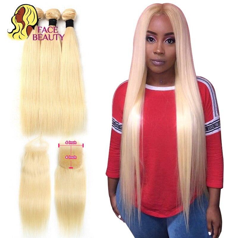 Facebeauty 613 белокурые малайзийские волосы 2/3/4 пряди с кружевной застежкой 4x4 прямые человеческие волосы Remy 8 - 28 дюймов