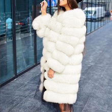 Furry Coat Jacket Winter Faux-Fur White Plus-Size Women Outerwear Long-Sleeve Fashion