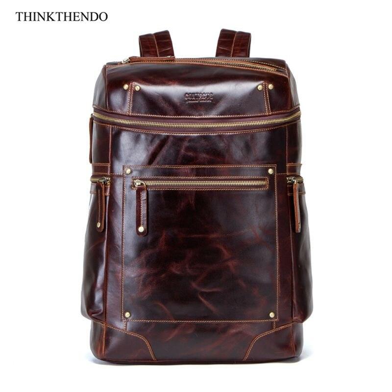 Men Genuine Leather Backpack Laptop Bookbag Casual Rucksack Large Capacity Travel Daypack Bagpack