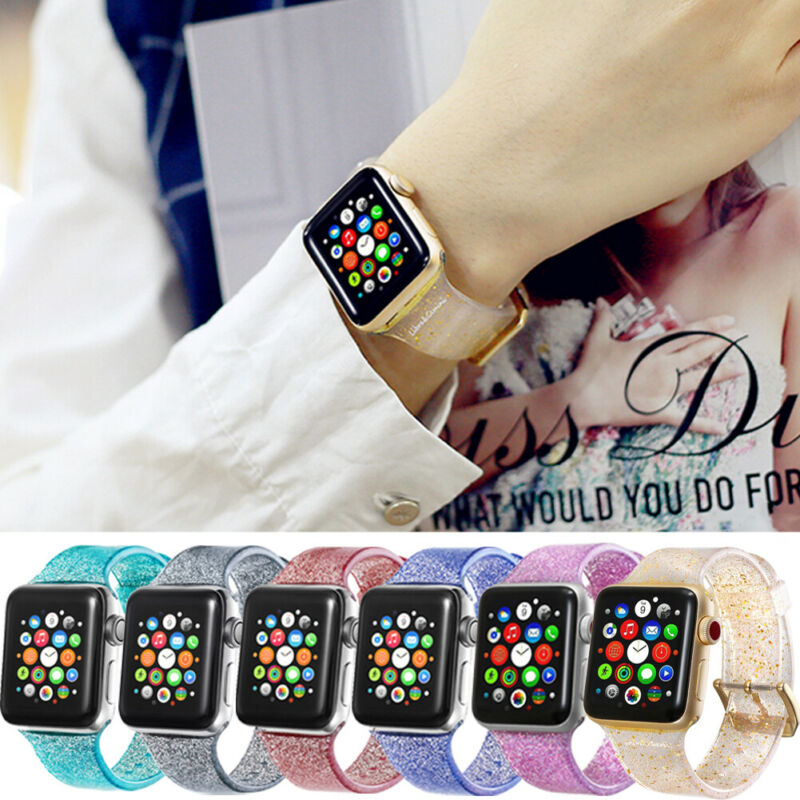 Women Girl Sports Band Strap Glitter Bling Bracelet Watch Band For Apple Watch IWatch 2 3 4 Series Sequin Colorful Watchbands
