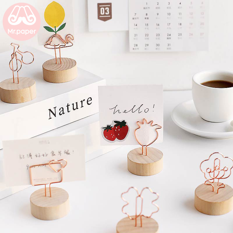 Mr Paper Kawaii Strawberry Cherry Flower Clover Swan Envelope Wooden Memo Clips Memo Pad Photo Holder Standing Memo Clips