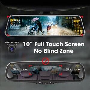 """Image 3 - جانسايت 10 """"جهاز تسجيل فيديو رقمي للسيارات تيار وسائل الإعلام مرآة عدسة مزدوجة مسجل فيديو شاشة تعمل باللمس مسجل داش كام التحكم الصوتي 1080P كاميرا خلفية"""