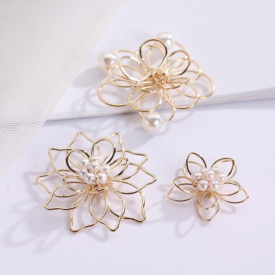 Позолоченные филигранные металлические цветы, подвески-соединители для самостоятельного изготовления сережек, украшения для волос, 20 шт./л...