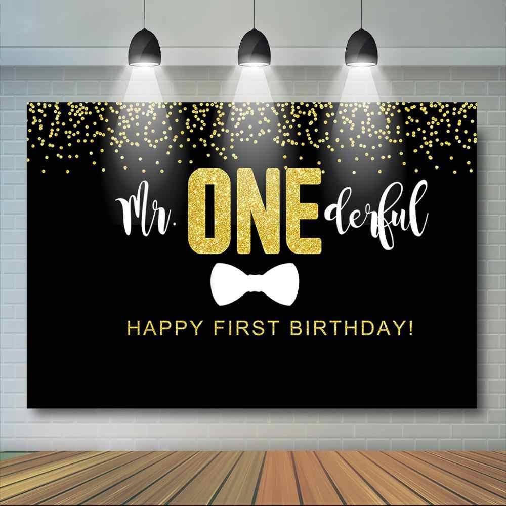 Mutlu 1st doğum günü Backdrop erkek altın Glitter siyah beyaz çizgili kravat arka plan Mr Onederful ilk doğum günü partisi dekor malzemeleri