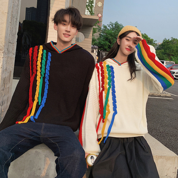 Couple Sweater Men Fashion Contrast Color Casual Rainbow Pullover Men Streetwear Wild Loose Hooded Sweter Man Clothes M-2XL