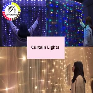 Image 3 - Coversage Weihnachten Led leuchten Vorhang Garland 3X3M LED String Fairy Dekorative Outdoor Indoor Hause Hochzeit Dekoration Net Licht