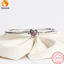 100% pure 925 Sterling Silver Snake Chain Gypsophila Zircon Buckle Charm Bracelet & Bangle For Women silver Jewelry Gift ZY16 popular good quality gift silver jewelry bangle pink love heart famous crystals 925 pure silver bangle