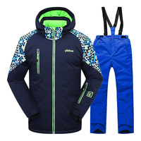 Boys Clothing Winter Ski Suit Thicken Outdoor Warm Set Snowboard Waterproof Jacket Pants children clothes