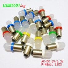 100個BA9S T4W #44 #47ベースつや消しlenさまざまなカラー利用可能な非極性ac dc 6 12v 6.3vピンボールゲーム機ledランプ