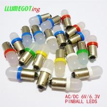 100 pièces BA9S T4W #44 #47 Base avec givré Len diverses couleurs disponibles Non polarité AC DC 6V 6.3V flipper jeu Machine lampes Led