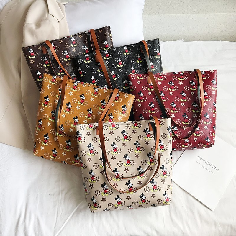 Disney Mickey Mouse Lady Shoulder Bag Pu Cartoon Handbag Disney Mickey Mouse Mickey Women Fashion Print Pu