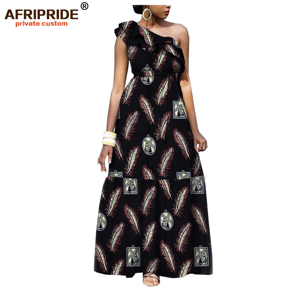 2019 african fashion casual dress for women AFRIPRIDE tailor made one shoulder fit and flare women batik cotton dress A1825111-in Dresses from Women's Clothing    3