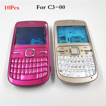10Pcs/lot Good quality Full Housing For Nokia C3 C3-00 Back Case Battery Cover Front+Middle Frame Keypad C3-00 Replacement Part