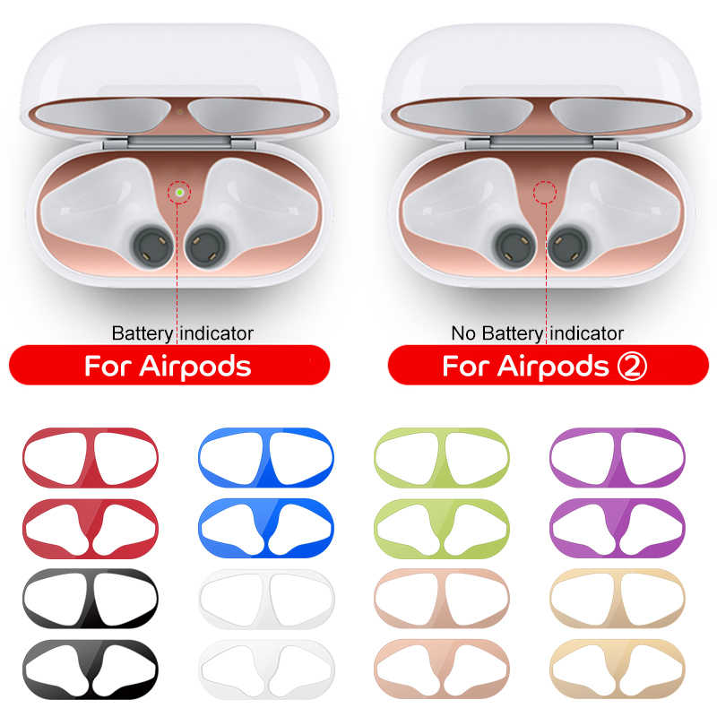 Adhesivo Protector de polvo metálico para AirPods 1 2 funda a prueba de polvo Protector de piel para AirPods de Apple 2 1 Accesorios