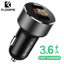FLOVEME 18W USB Car Charger For iPhone Xiaomi Dual Port Chargeur 3.6A Fast Charging Mobile Phone