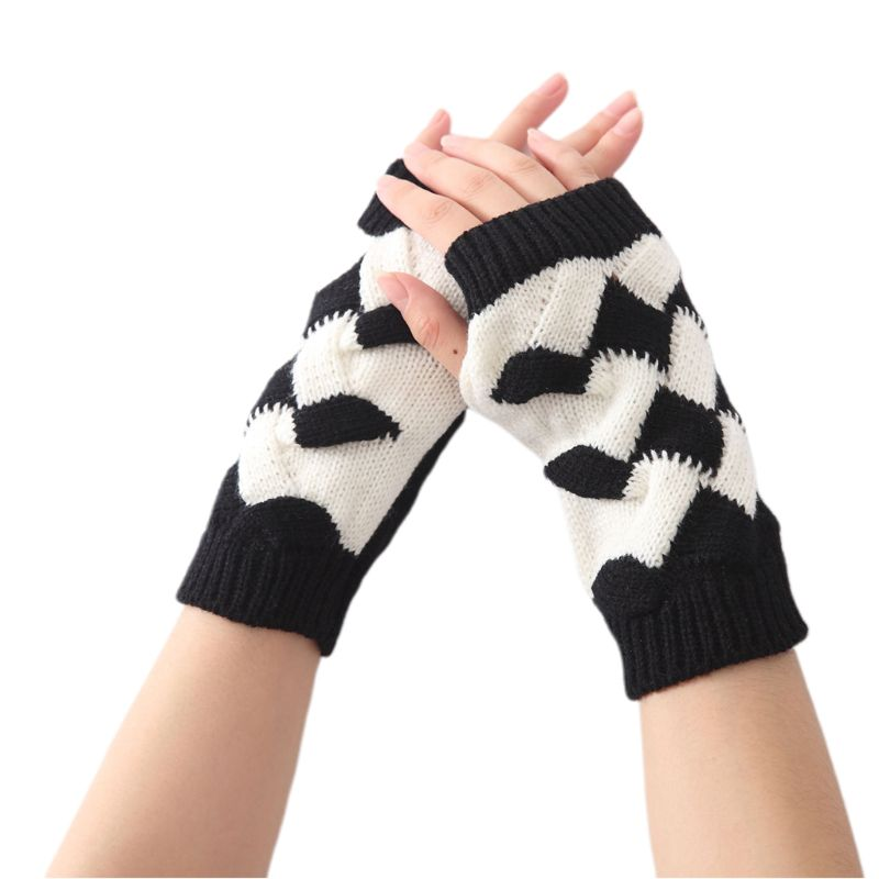 Women Men Contrast Color Short Fingerless Gloves Twist Rhombus Crochet Chunky Knit Arm Warmer Winter Mittens With Thumb Hole