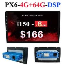 1 Din DSP Android 10 Octa Core PX6 Radio Stereo GPS Navi Hình Ảnh Âm Thanh Đơn Vị PC Wifi BT HDMI AMP 7851 OBD DAB + SWC 4G + 64G