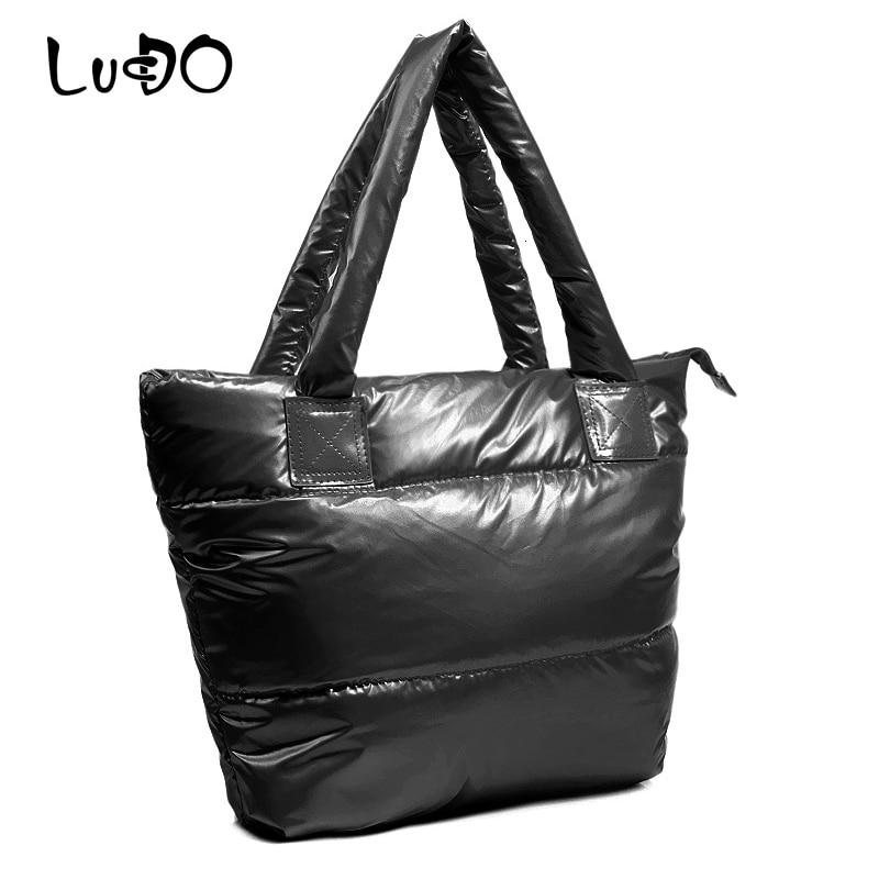 LUCDO Fashion Handbag Women Space Pad Cotton Feather Down Bag 2019 New Winter Soft Space Cotton Shoulder Tote Bag Bolsa Feminina