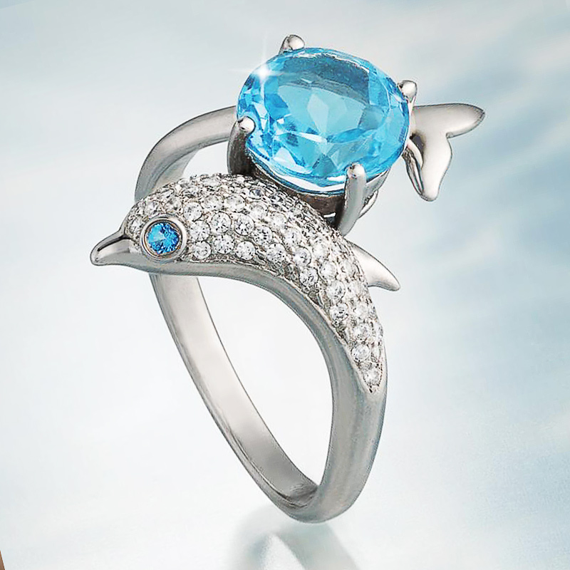 Huitan Trendy Dolphin Shape Women Ring Delicate Wedding Ceremony Party Bridal Ring Shine Cubic Zirconia Cute Gift Women Rings(China)