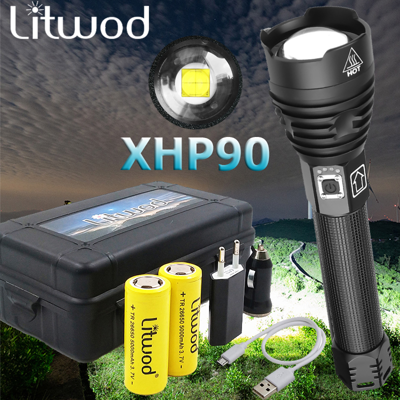 Litwod Z40 led flashlight XHP90 Flashlight power 26650 or 18650 battery powerful Tactical Flash light torch For Camping Hunting