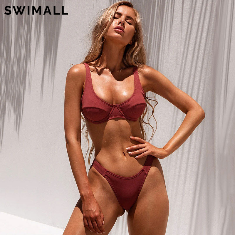 2021 сексуальный купальник, женское бикини, бюстгальтер пуш-ап с вкладышами, бандажный комплект бикини, треугольный купальник, купальный кост...