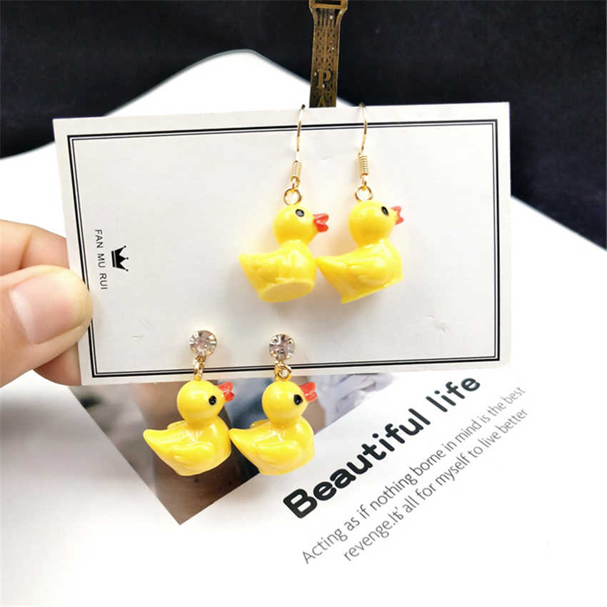 Fashion super cute little yellow duck small earrings