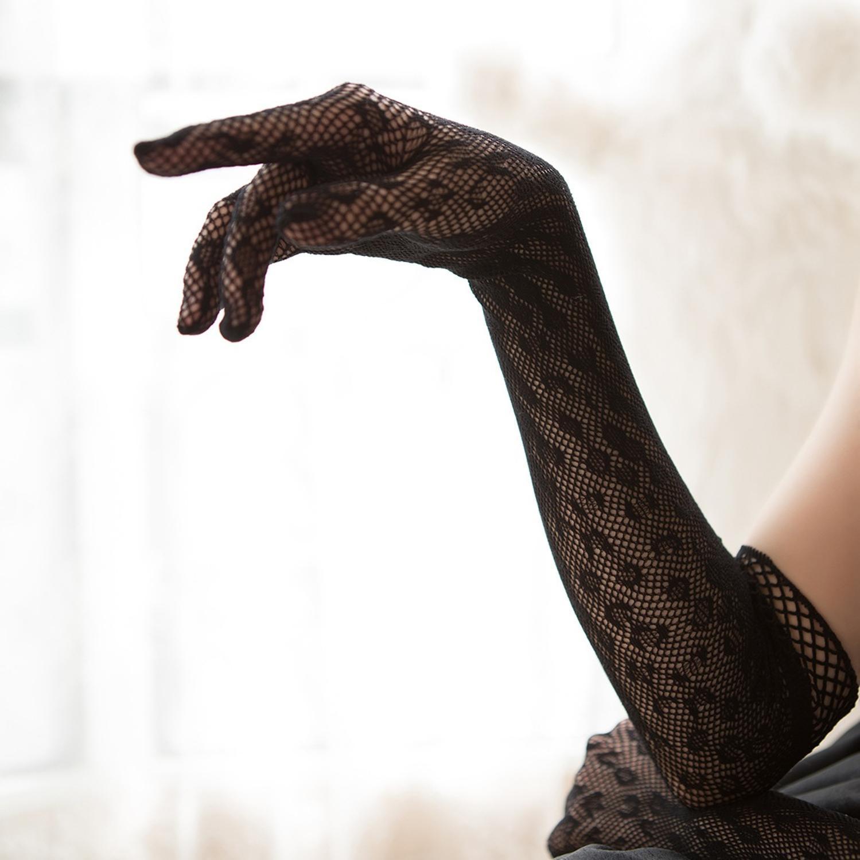Lolita Dress Sleeve Vintage Gothic Dress Lace Wedding Dress Hand Sleeve Gloves Women Sun Proof Bridal Mesh Gloves