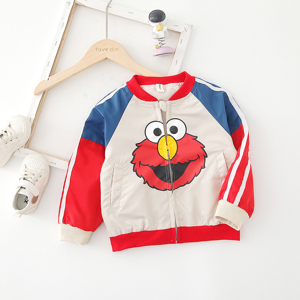 Childrenswear A Generation Of Fat 2019 Baby Men And Women Children Korean-style Zipper Cartoon Printed Contrast Color Baseball U