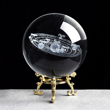 Solar System Miniatures Figurines 3D Planets Model Sphere Feng Shui Crystal Ball Desk Decoration Home Decor Gift for Holiday 1
