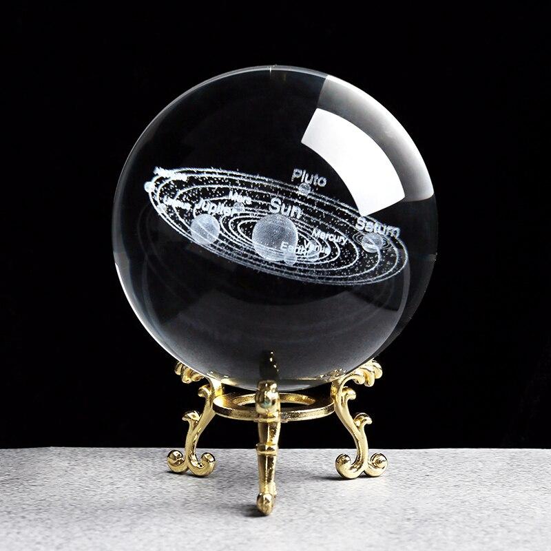 ระบบพลังงานแสงอาทิตย์ Miniatures Figurines 3D ดาวเคราะห์รุ่น Sphere Feng Shui คริสตัลบอลตกแต่งโต๊ะของขวัญตกแต่งบ้า...