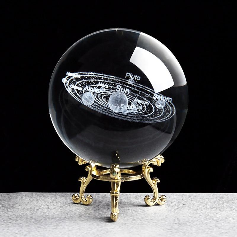 Sistema Solar miniaturas figuras 3D planetas modelo esfera Feng Shui bola de cristal escritorio decoración hogar regalo para vacaciones