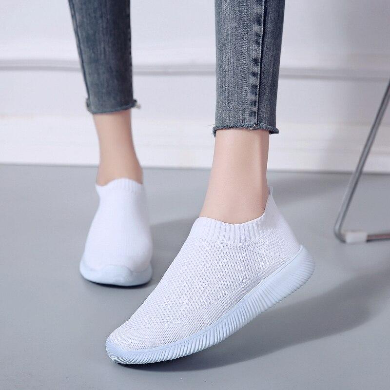 Hot DealsRimocy Shoes Flats Sock Platform Mesh Sneakers Women Slip-On Soft Breathable Plus-Size