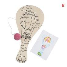 DIY Racket Wooden Toy For Children Manual Painting Pat Ball Kids Educational Handmade