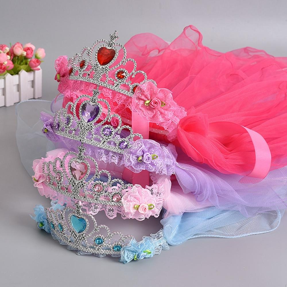 Tiara de cabelo de alta qualidade para meninas, 1 peça, doce, princesa, coroa, flor, tule, tiara de cabelo, para meninas, acessórios de cabelo roupa de cabeça